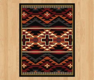 rustic cross black rug