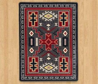 double cross gray area rug