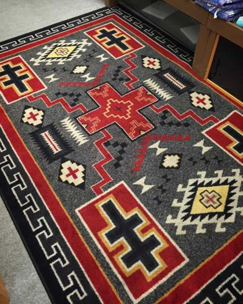 double cross gray rug scene