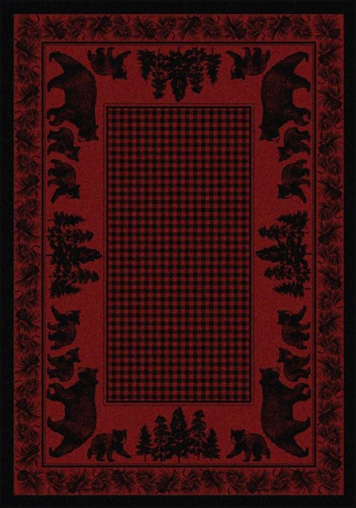 bear family red rug