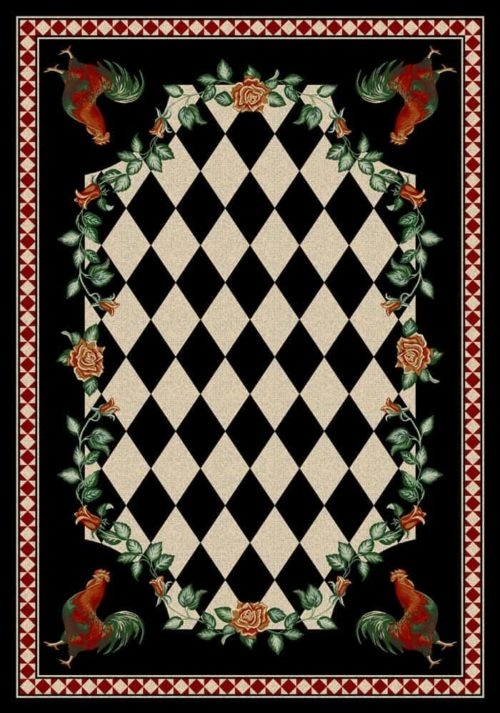 high country rooster black rug