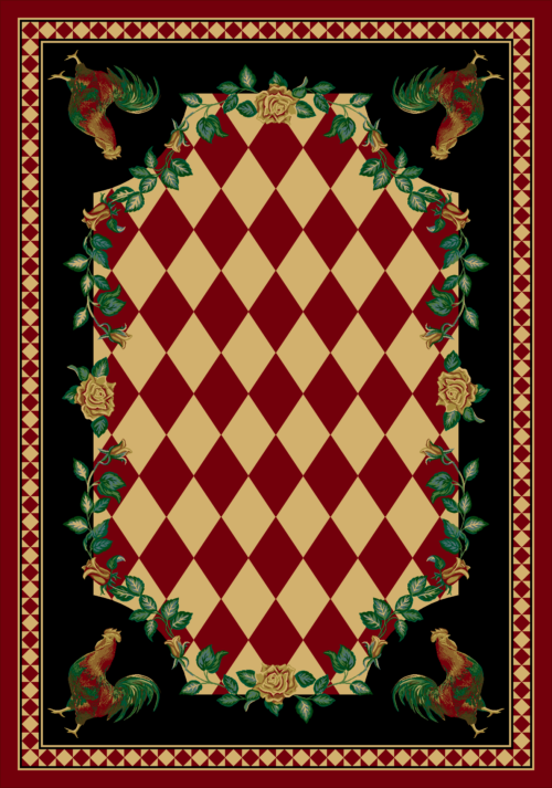 high country rooster red rug