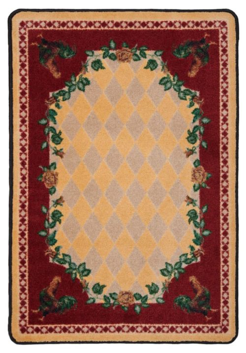 high country rooster yellow rug