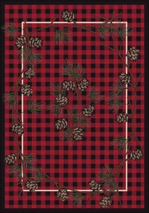 wooded pines red rug