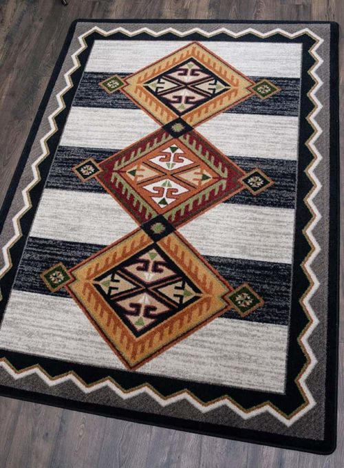 lineage black and white rug