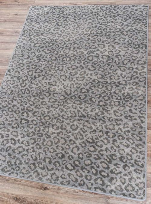 Snow Leopard Natural Rug Angled