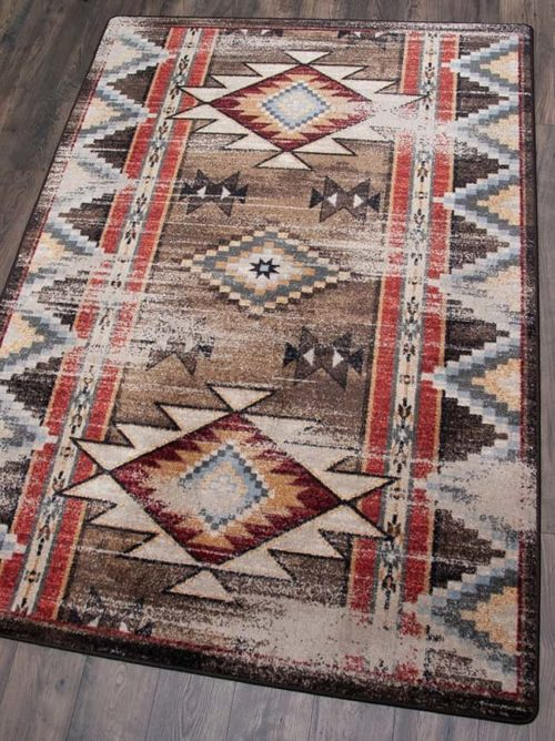 distressed bow strings brown area rug