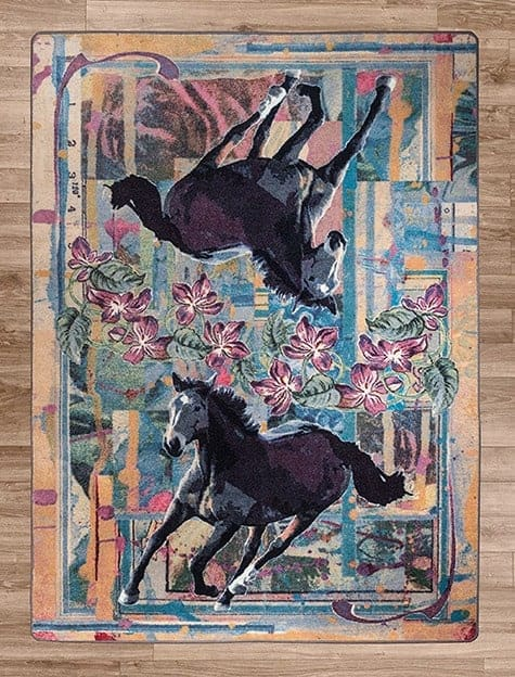 Ruiz Purple Horse area rug